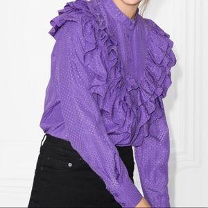 Paris Atelier & Other Stories Purple Ruffle Front
